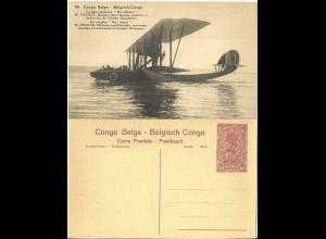Belgisch Congo, ungebr. 30 C. Bild Ganzsache m. Abb. Wasser Flugzeug. H&G64