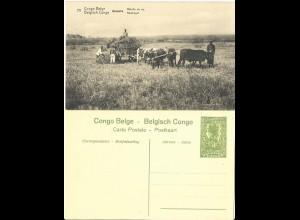 Belgisch Congo, ungebr. 5 C. Bild Ganzsache m. Abb. Reis Ernte, Ochsen. H&G43