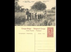Belgisch Congo, ungebr. 10 C. Bild Ganzsache m. Abb. Mähmaschine, Ochsen. H&G44