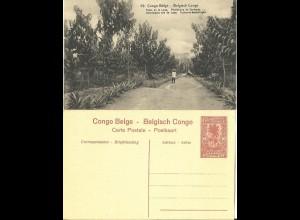 Belgisch Congo, ungebr. 10 C. Bild Ganzsache m. Abb. Kautschuk Plantage, Ochsen.