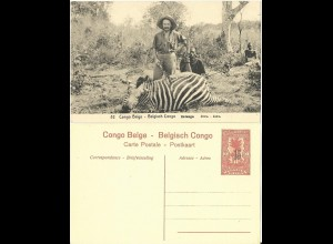 Belgisch Congo, ungebr. 15/10 C. Bild Ganzsache m. Abb. Jäger m. Zebra . H&G55