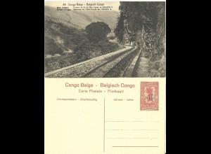 Belgisch Congo, ungebr. 15/10 C. Bild Ganzsache m. Abb. Eisenbahn Schienen.