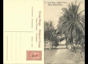 Belgisch Congo, ungebr. 15/10 C. Bild Ganzsache m. Abb. Palmen. H&G55