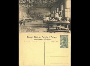 Belgisch Congo, ungebr. 15 C. Bild Ganzsache m. Abb. Schreiner Werkstatt. H&G63