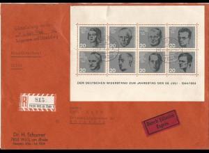 BRD 1964, Widerstandskämpferblock auf Reko Express Brief v. Weil am Rhein