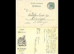 DR 1891, 5 Pf. Privat Ganzsache Chocolat Suchard, gebr. v. Schlüchtern