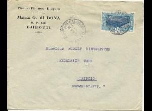 Franz. Somaliküste 1935, 1,50 F Eisenbahn auf Brief v. Djibouti n. Leipzig #2072