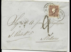 Lombardei u. Venetien 1861, 10 Soldi auf Grenzfranko Brief v. Rovigo n. Milano
