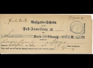 Bayern 1870, HKS GAUGREHWEILER auf Postschein f. Postanweisung