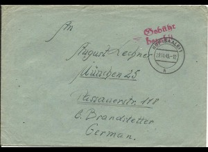 1945, Gebühr bezahlt Hof (Saale) auf Brief v. Schollenreuth Post Feilitzsch