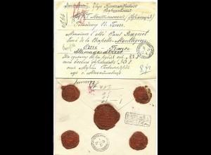 Russland 1900, gesiegelter u. bar bez. Brief m. Frankreich Reko Stempel
