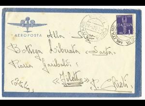 Italien, Milit. Post Albanien 1941, Luftpost Brief m. 1 Lire.
