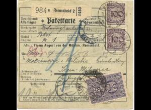 DR 1927, 3x 100+50+5 Pf. auf paketkarte v. Remscheid m. Jugoslawien Steuermarke