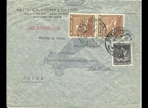 Chile 1941, 3 Marken auf Condor-Lati Flugpost Brief v. Santiago i.d. Schweiz