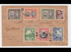 Grenada 1940,7 Marken auf Einschreiben Brief v. Grenville n. Bermuda
