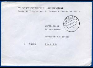 BRD 1974, später KGF POW Brief v Stuttgart an Major Reder, Festung Gaeta Italien