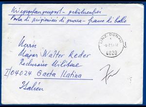 Österreich 1969, später KGF POW Brief v. Linz an Major Reder, Gaeta Italien