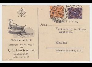 DR 1923, 5+20 Mk. auf illustrierter Reklame Karte v. Leipzig Volkmarsdorf