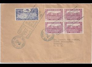Dominican Rep. USA 1929, Erstflug Brief m. attraktiver Frankatur. #1291