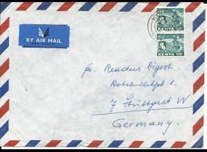 Kenya 1965, Paar 65 C.Pyrethrum Ernte auf Luftpost Brief. Insektizide!