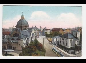 Dortmund, Hansastr. m. Trambahn u. Synagoge, 1910 gebr. Farb AK
