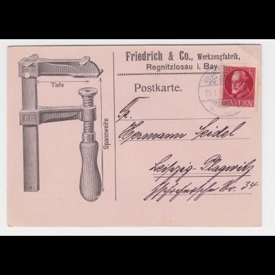Bayern 1919, illustrierte Firmen Reklame Karte v. Regnitzlosau (bei Rehau)