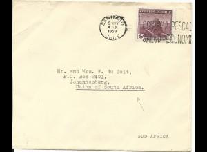 Chile 1953, EF 10 $ Dampflok auf Brief v. Santiago n. Südafrika.