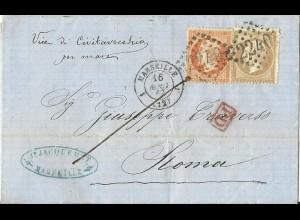 """Frankreich 1867, Schiffspost Brief """"Civitavecchia per Mare"""" i.d. Kirchenstaat."""