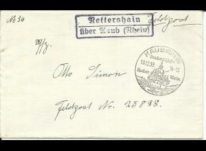DR 1939, Landpost Stpl. Rettershain über Kaub (Rhein) auf Brief an FP Nr. 25828