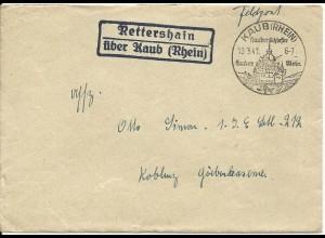 DR 1941, Landpost Stpl. Rettershain über Kaub (Rhein) auf Feldpost Brief