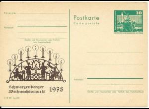 DDR 1978, Weihnachtsmarkt Schwarzenberg, ungebr. Privart Ganzsache Weihnachten!
