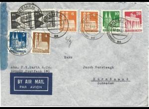 1949, 8 Werte Bauten auf 55 Pf. Luftpost Brief v. Bremen n. Schweden