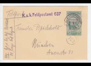 Bosnien 1917, 5 H. Ganzsache v. Feldpost Amt 637 n. Bayern. Bayer. Inf. Brigade!