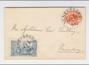 Schweden 1907, 2 öre Ganzsache Brief m. Tuberkulose Spendenmarke ab Venersborg