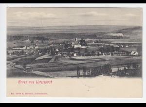 Gruss aus Ustersbach, 1905 gebr. Panorama AK m. Eisenbahn Zug im Hintergrund