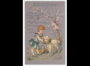Fröhliche Ostern m. Kind, Eierkorb u. Osterlamm, 1904 gebr. Farb AK