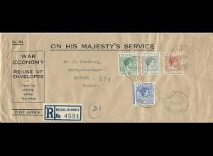 Bahamas 1940, offiz. War Economy Envelope, Einschreiben m. 4 Marken n. Schweden