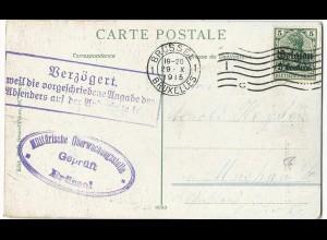 Dt. Besetzg. Belgien 1917, 5 C./5 Pf. auf Karte m. Zensur - Verzögerungsstpl.