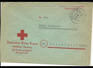 BRD 1958, Rotes Kreuz KGF POW Suchdienst Orts Brief v. Bielefeld. Gebührenfrei!
