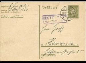 DR 1932, Landpost Stpl. Sutt Orf Wunstorf Land auf 6 Pf. Ganzsache