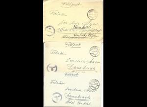 Feldpost WK II 1943, 3 Brief v. Glückstadt n. Innsbruck, Österreich