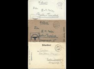 Feldpost WK II 1940/42, 3 Brief m. aptierten stummen Stempeln