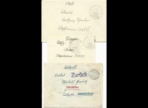 """Feldpost WK II 1939/42, 3 Brief v. Usingen, 1mal """"Zurück"""", """"Nicht zustellbar.."""""""