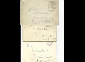 """Feldpost WK II 1941/42, 3 Brief """"Budweis Dt. Dienstpost Böhmen-Mähren"""""""