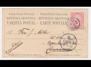 """Argentinien 1889, 6 C. Ganzsache Karte """"pr. vapor Portugal"""" n. Dänemark! #2393"""