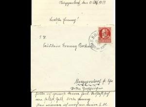 "Bayern 1917, Bahnpost ""Windsbach IV Wicklesgreuth"" auf Brief v. Muggendorf"