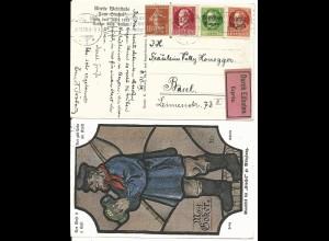 Bayern 1919, Mischfrankatur auf Eilboten AK v. Würzburg m. int. diesbezgl. Text!