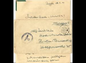 Feldpost WK II 1941, FP Brief m. Inhalt v. Riga Lettland u. stummem Stpl.