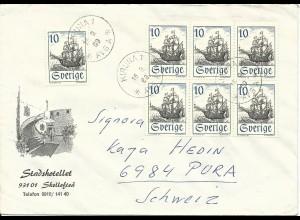 Schweden 1969, Brief v. Kiruna an Kaja Hedin, Schweiz. MeF 7x10 öre