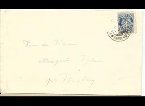 Norwegen 1922, Stpl. FELTPOST KONTORET GARDERMOEN auf Brief m. 20 öre